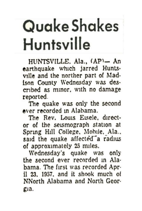 Earthquake in Huntsville